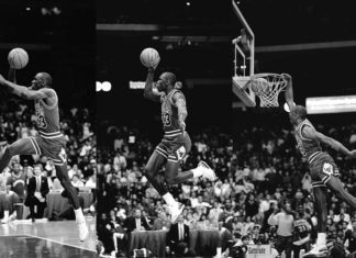 Michael Jordan úp rổ từ vạch ném phạt