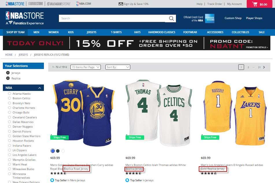 Hàng Replica từ nhà sản xuất Adidas được bán công khai tại NBA Store.