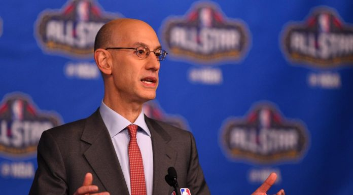 Feb 18, 2017; New Orleans, LA, USA; NBA commissioner Adam Silver speaks to the media during the Commissioner Press Conference at Smoothie King Center. Mandatory Credit: Bob Donnan-USA TODAY Sports