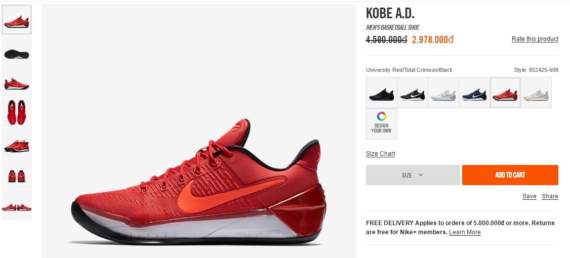 Giày Kobe AD giảm giá